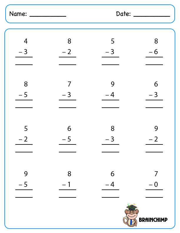 math worksheet : new 446 single digit subtraction worksheet horizontal  : Single Digit Subtraction Worksheet