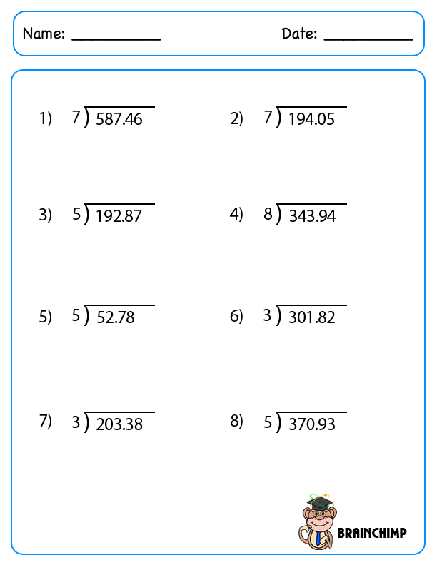 6Th Grade Math Worksheets Decimals – Division with Decimals Worksheets