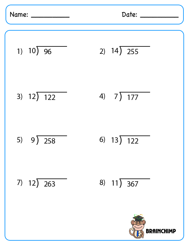 Worksheet 7991033 Math Worksheets Division with Remainders – Long Division with Remainders Worksheet