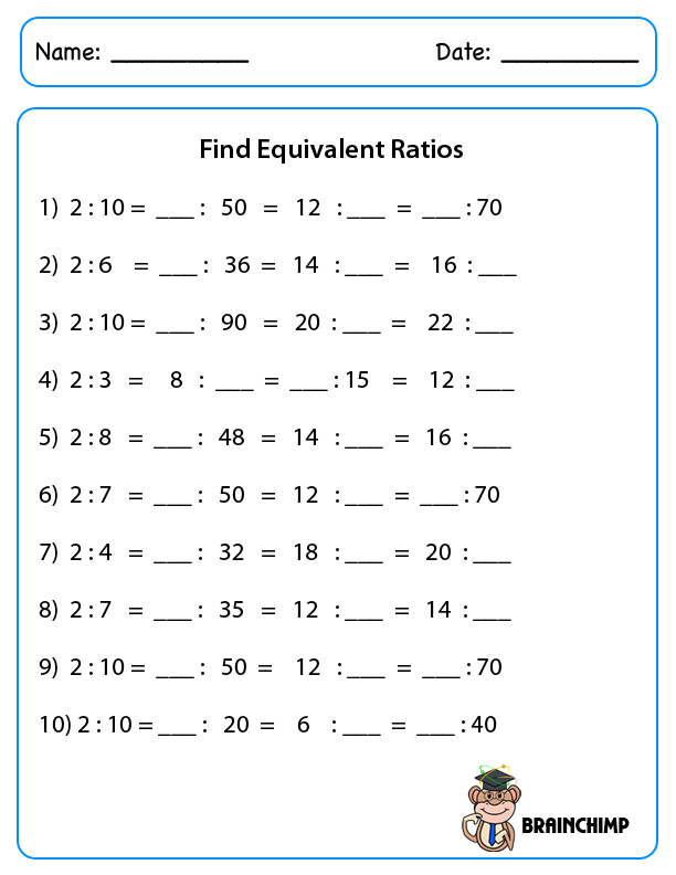 Equivalent Ratios Worksheet Free math worksheets