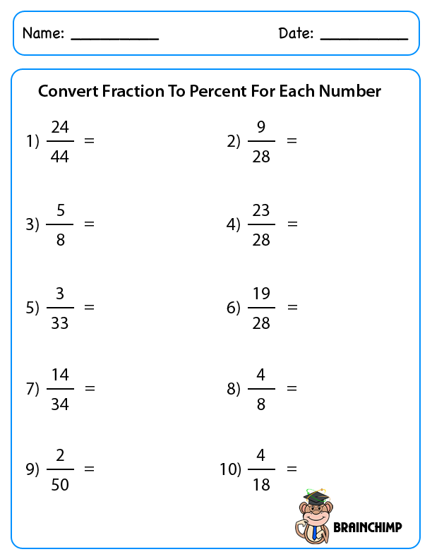 Percent Change Worksheet – Fraction to Percent Worksheet