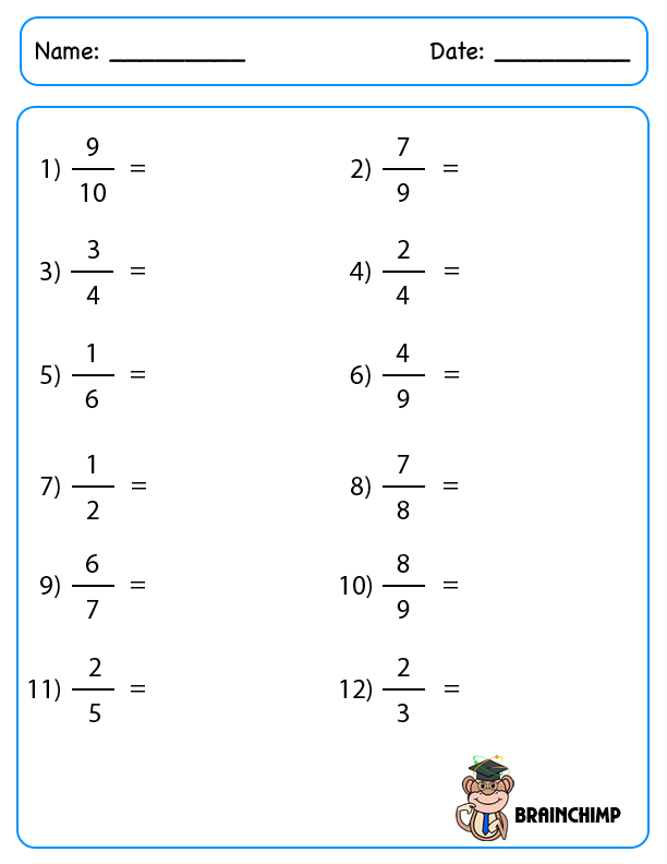 convert fraction to decimal worksheet – Converting Fractions to Decimal Worksheets