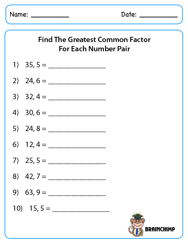 Printables Greatest Common Factor Worksheet greatest common factor printable worksheets abitlikethis worksheets