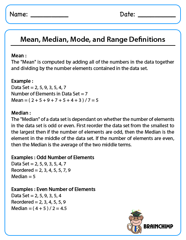 mean median mode word problems worksheets Termolak – Mean Mode Median Worksheet