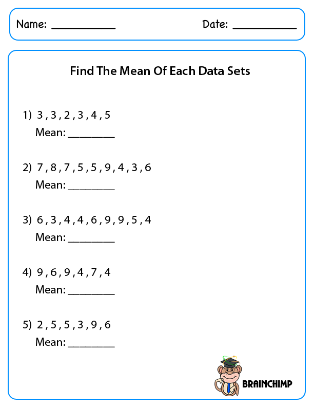 Printable Worksheets finding the mean median and mode worksheets : Mean Median Mode | Brainchimp