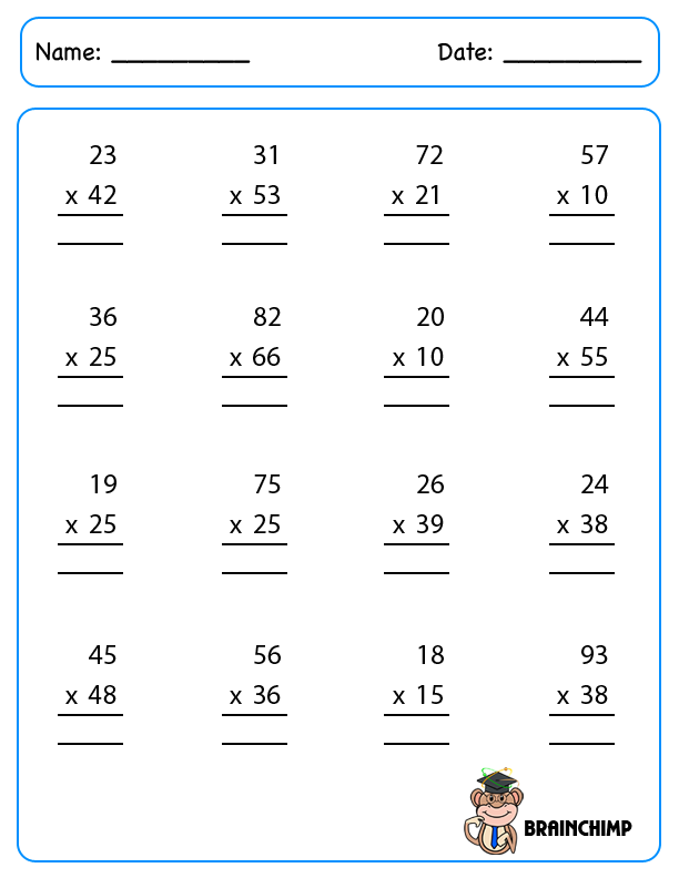 Worksheets Of Multiplication/page/2   New Calendar Template Site