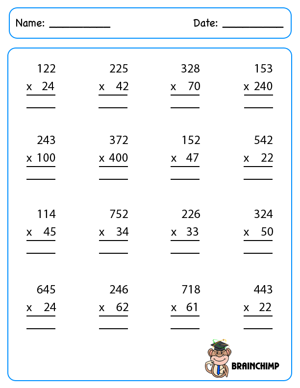 Multiplication Worksheet Single Digit – Three Digit Multiplication Worksheets