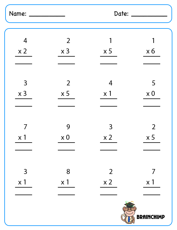 Single Digit Multiplication 25 Problems On Each Worksheet Pictures to ...