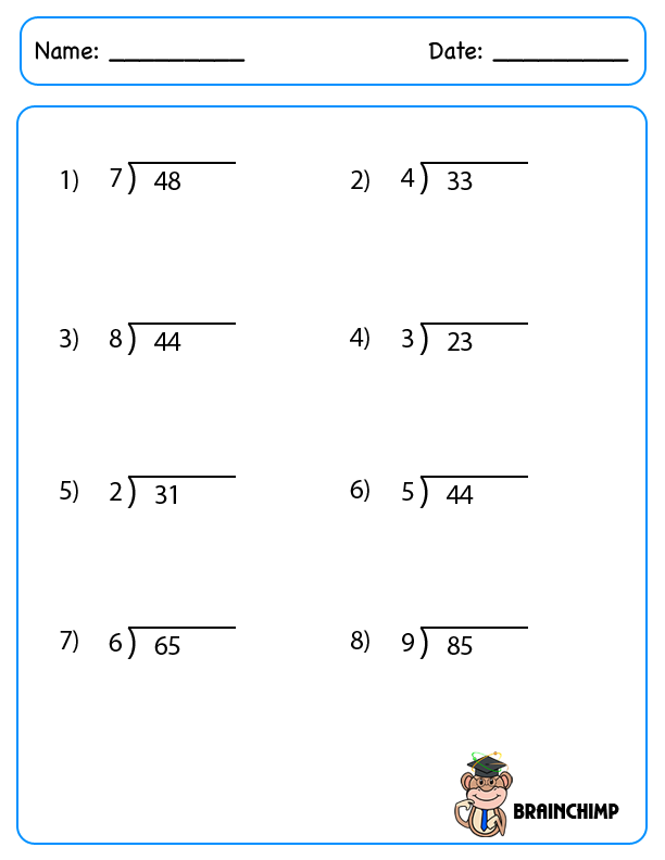 Simple Division Scalien – Step by Step Division Worksheets