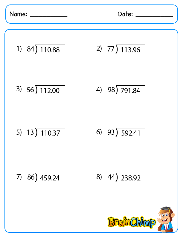 Decimal Division Worksheets Worksheet – Decimal by Decimal Division Worksheets