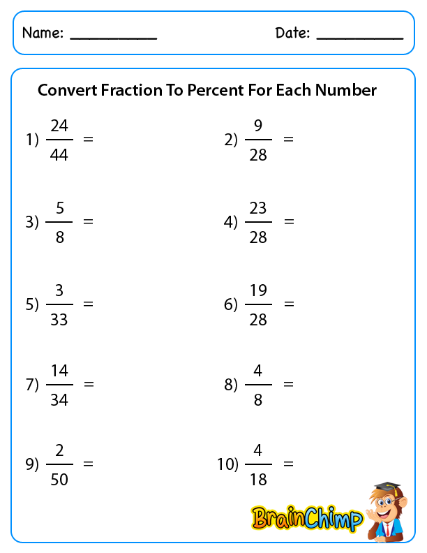 math worksheet : fractions to percents worksheet  worksheets for education : Fractions To Percents Worksheet