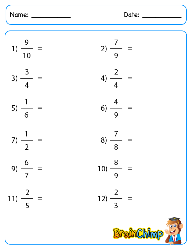 Fraction – Convert Fractions to Decimals Worksheets