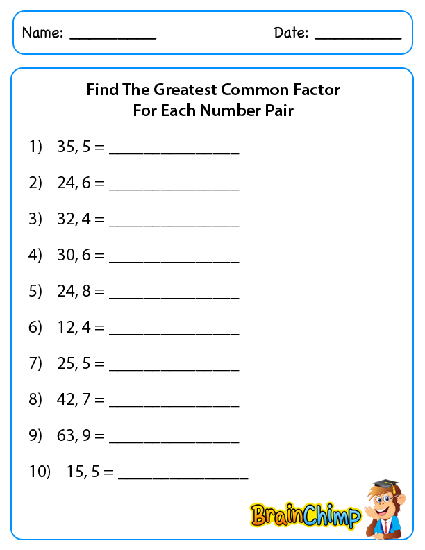 Greatest Common Factor And Least Common Multiple Worksheets Free – Greatest Common Factors Worksheet