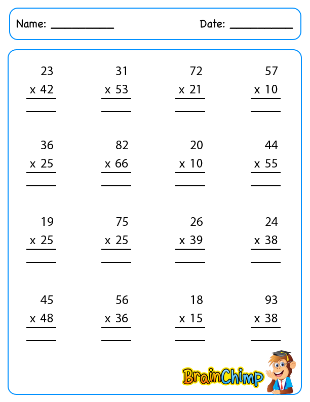 3 Digit By 3 Digit Multiplication Worksheets grade 5 – Two Digit by Two Digit Multiplication Worksheets