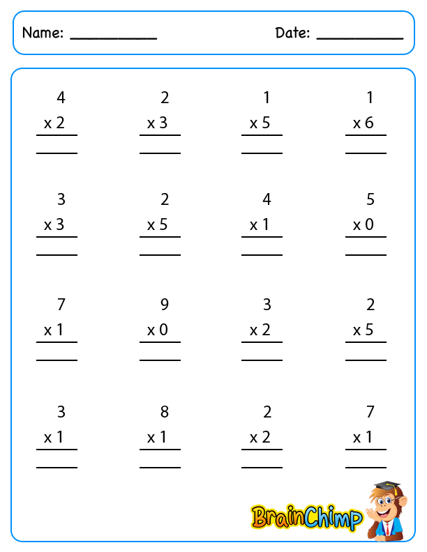 worksheets_Single Digit Multiplication
