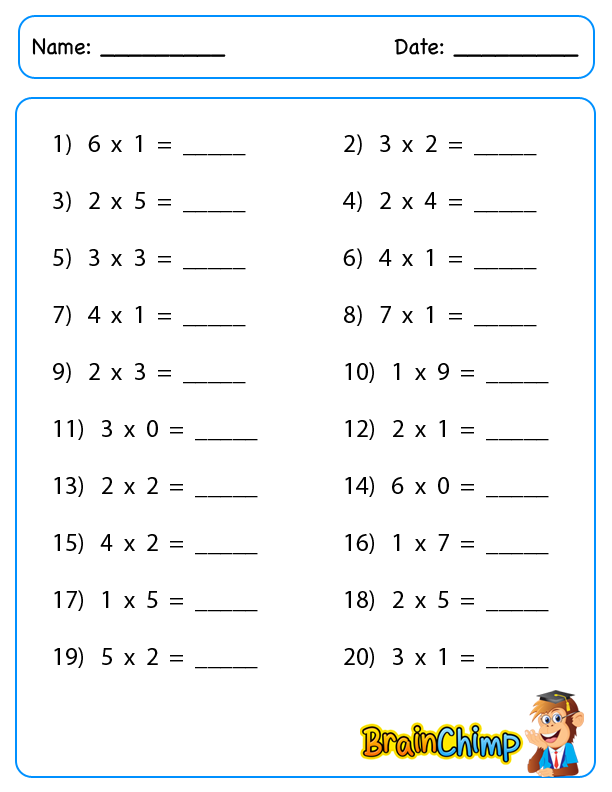 worksheet_Single Digit Multiplication_2