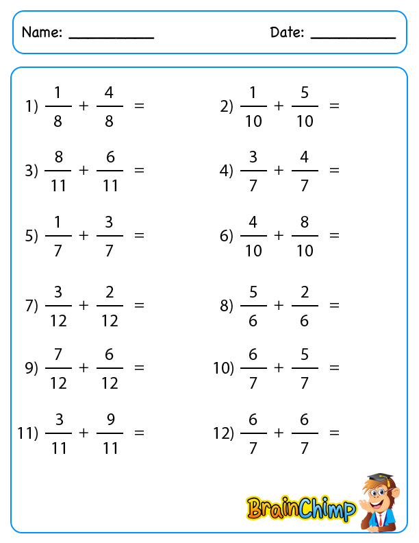 Simple Fraction Addition