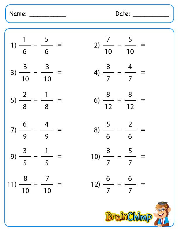Simple Fraction Subtraction