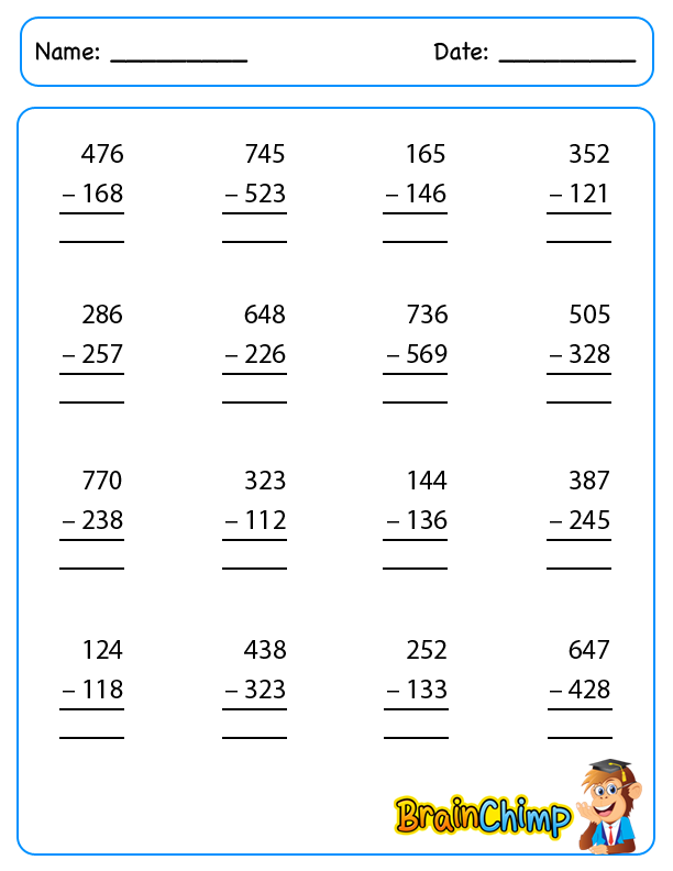 worksheet_3 Digit Subtraction_1