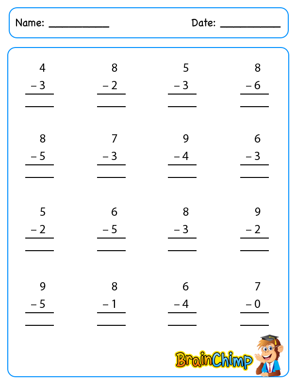 worksheets_Single Digit Subtraction