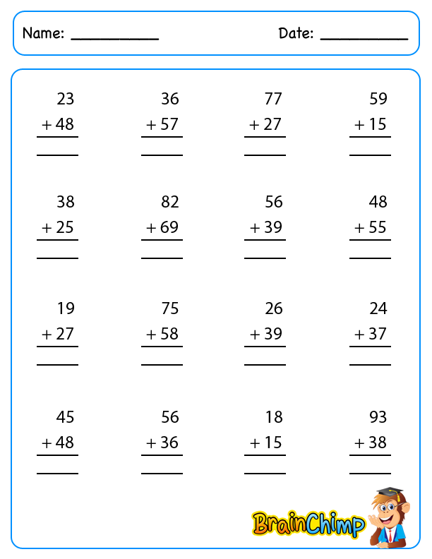 Addition – 2 Digit Addition with Regrouping Worksheets