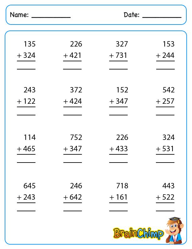 worksheet_3 Digit Addition_1