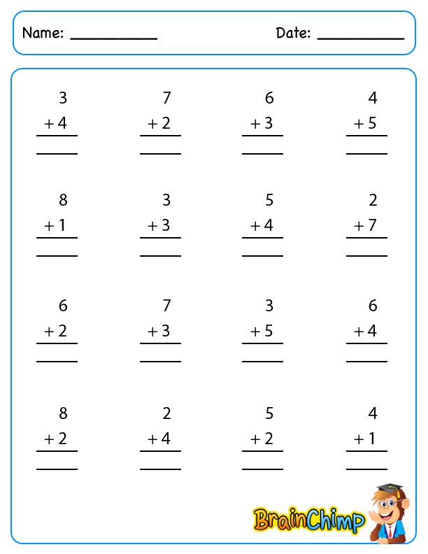Addition – Addition Single Digit Worksheet